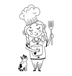Funny cartoon style little girl cooking vector