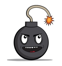 Funny evil cartoon bomb ready to explode vector image