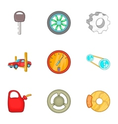 Garage icons set cartoon style vector