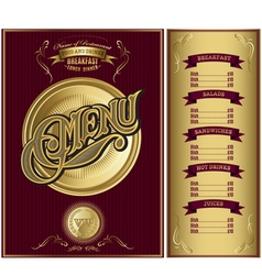 gold template for cover menu vector image