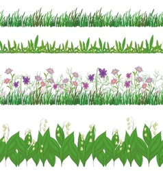Grass and flowers set seamless vector image