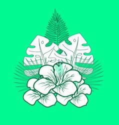 Green tropical emblem vector