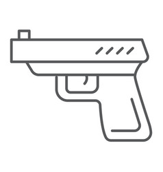 gun thin line icon weapon and revolver pistol vector image