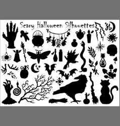 Halloween set with traditional scary silhouettes vector