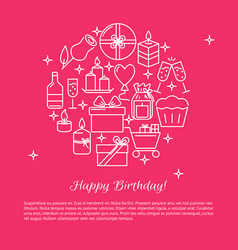 Happy birthday round concept banner template in vector