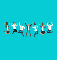 Happy excited business people employees jumping vector