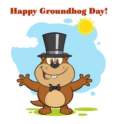 Happy marmot cartoon character vector