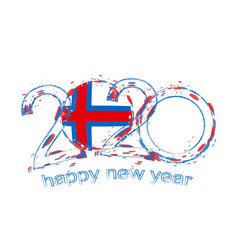 Happy new 2020 year with flag faroe islands vector