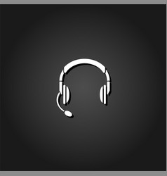 headset headphones with microphone icon flat vector image