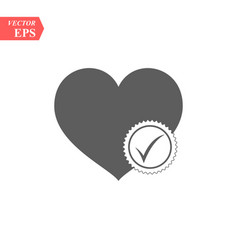 heart sign web icon with check mark symbol vector image
