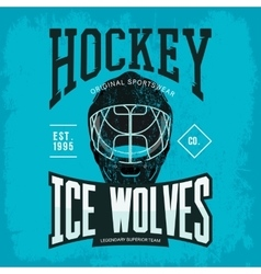 Hockey helmet as sport team badge or logo vector image