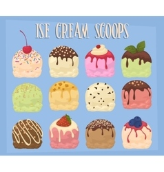 Ice cream scoops collection vector