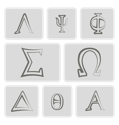 icons with letters of the Greek alphabet vector image