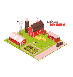 isometric farmsteading landscape composition vector image