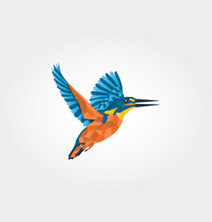 Kingfisher low poly icon vector