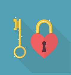 Lock heart flat icon vector