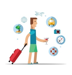 Man traveler travel concept vector