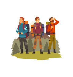men travelling together camping people vector image