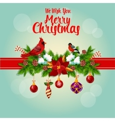 Merry Christmas holly garland and cardinal birds vector image