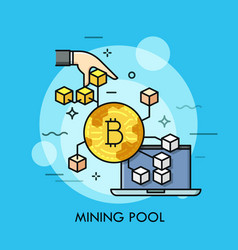 Mining pool thin line concept vector