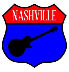 Nashville guitar highway sign vector
