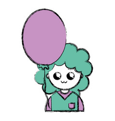 Nice boy with uniform clothes and balloon vector