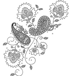 Paisley mehndi floral design vector image