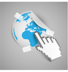 Paper cursor shows the map of the world vector