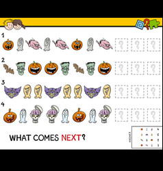 pattern educational game with halloween characters vector image