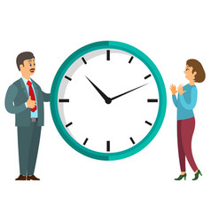 people near clock round watch timer icon vector image