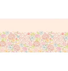 Pink roses horizontal seamless pattern background vector
