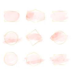 Pink watercolor brush stroke splash with luxury vector