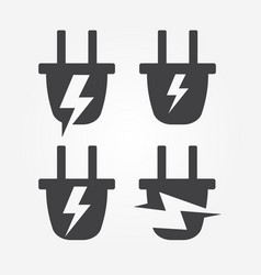 plug into socket with lightning energy logo vector image