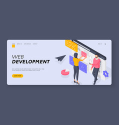 programmers developing web software banner vector image