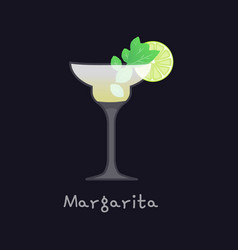 Refreshing classic margarita with lime mint vector