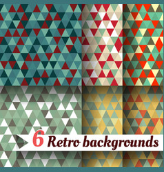 Retro backgrounds with triangle set of 6 items vector