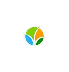 round abstract bio organic leaf logo vector image