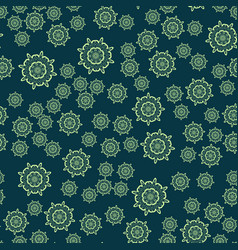 Seamless dark green flower mandala for print on vector