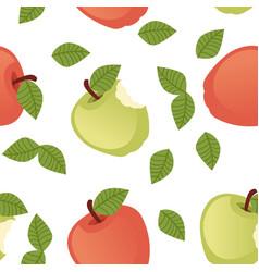 Seamless pattern bitten apple with green vector