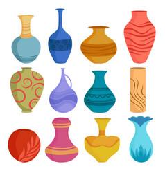 set cartoon ceramic vases colored ceramics vector image