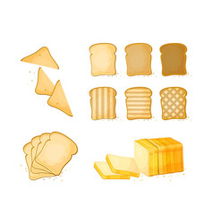 Set of slices toast bread icons vector