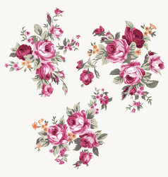 Set of vintage chintz flowers design and vector