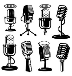 set retro style microphone icons isolated on vector image