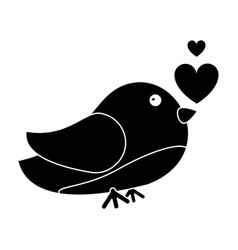 silhouette cute bird heart loveling vector image