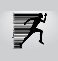 silhouette of a running man and barcode vector image