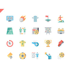simple set soccer flat icons for website vector image