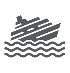 Sinking ship glyph icon disaster and water boat vector