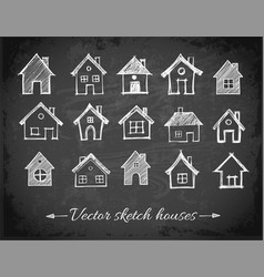 Sketch of houses on blackboard background vector