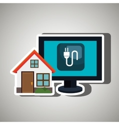 smart home with energy plug isolated icon design vector image