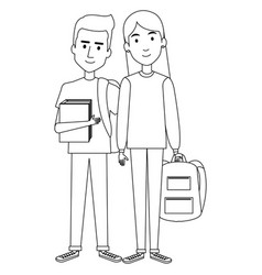 Students couple avatars characters vector